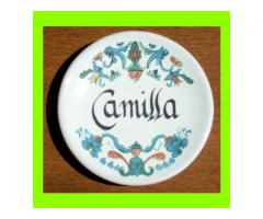 Piattino in ceramica con nome Camilla
