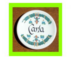 Piattino in ceramica con nome Carla