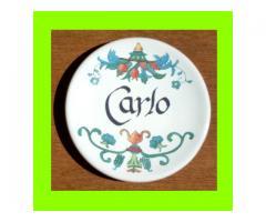 Piattino in ceramica con nome Carlo