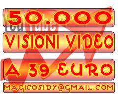 50.000 visualizzazioni al vostro video youtube a soli 39 €